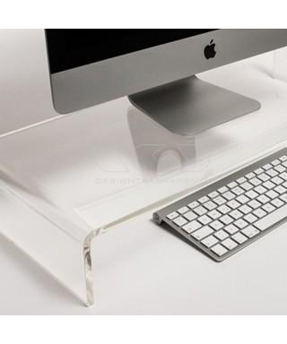 Supporto cm 70x20 alzata rialzo monitor in plexiglass trasparente