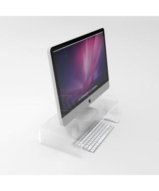 Supporto cm 70x30 alzata rialzo monitor in plexiglass trasparente