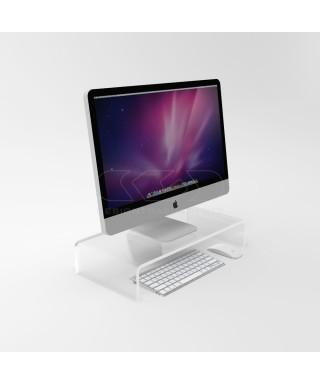 Supporto cm 70x40 alzata rialzo monitor in plexiglass trasparente