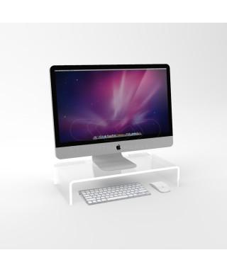 Supporto cm 70x50 alzata rialzo monitor in plexiglass trasparente