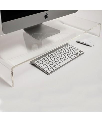 Alzata cm 75x50 supporto monitor rialzo in plexiglass trasparente