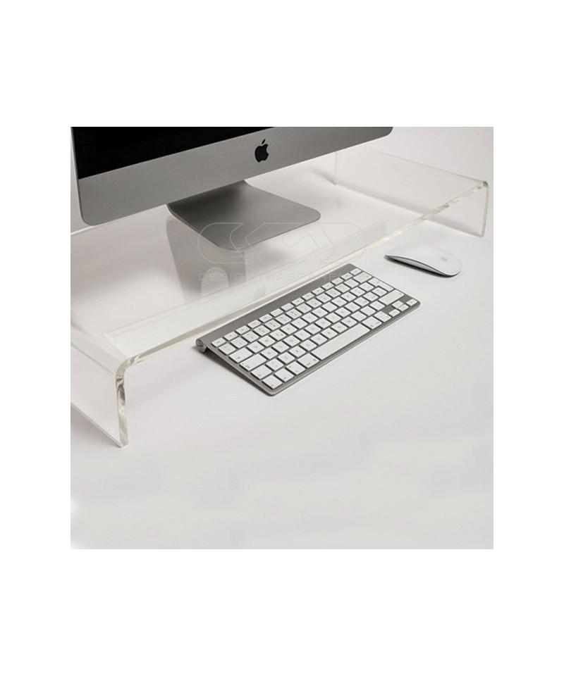 Supporto cm 100x20 alzata rialzo monitor in plexiglass trasparente