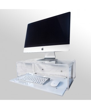Wall-mount clear acrylic suspended desk for iMac 21""