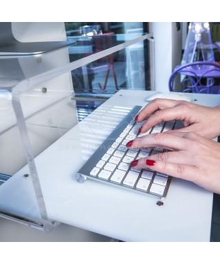 """Consolle salvaspazio per iMac 21""""scrittoio sospeso in plexiglass trasparente"""