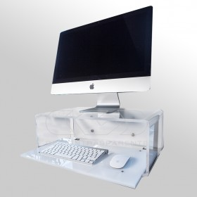 "Escritorio flotante por iMac 27"" de metacrilato transparente"