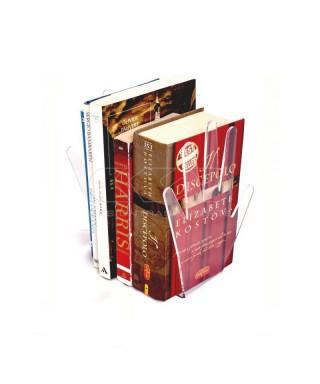 Sujeta libros de metacrilato transparente con forma de mano