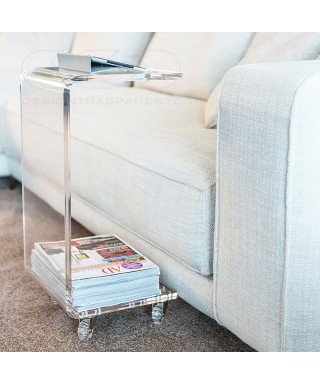 Tavolino-Comodino L50H60 carrello servitore portariviste in plexiglass