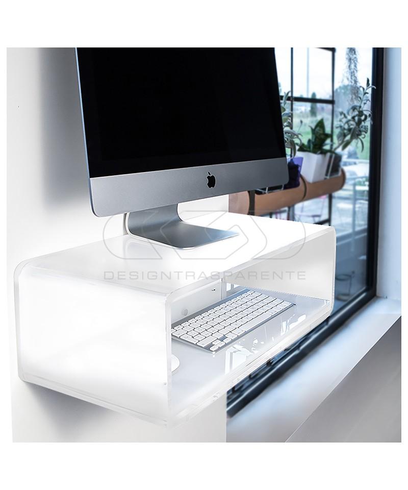 "Escritorio flotante por iMac 21"" de metacrilato blanco"