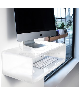 Wall-mount white acrylic suspended desk for iMac 27""