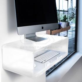 "Escritorio flotante por iMac 27"" de metacrilato blanco"