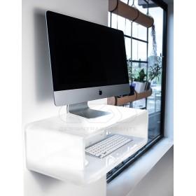 """Consolle salvaspazio per iMac 27""""scrittoio sospeso in plexiglass bianco"""
