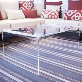 Tavolino a ponte cm 65x30 tavolo da salotto in plexiglass trasparente