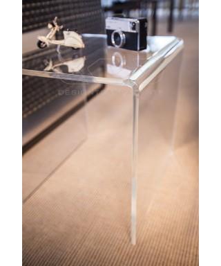 Mesa auxiliar cm 65x40 mesita baja de centro metacrilato transparente