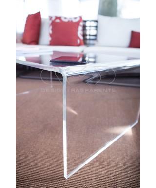 Mesa auxiliar cm 65x50 mesita baja de centro metacrilato transparente