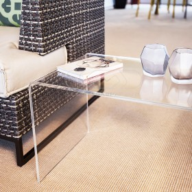 Tavolino a ponte 70x20 tavolo da salotto in plexiglass trasparente