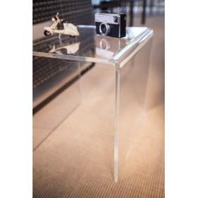 Mesa auxiliar cm 80x30 mesita baja de centro metacrilato transparente