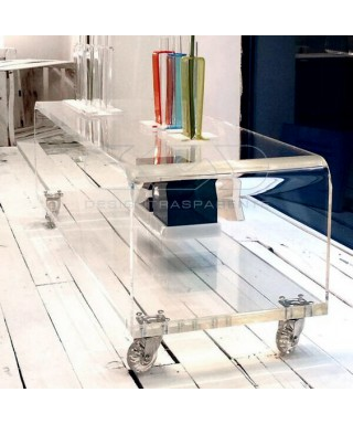 Acrylic clear rolling TV stand 65x40 with wheels, lucite shelves