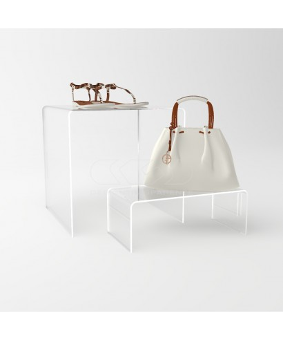 Espositore cm 10 alzata in plexiglass rialzo per vetrine e negozi