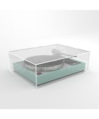 Coperchio per giradischi 45x35H10 su misura in plexiglas trasparente