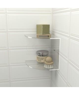 Mensola doccia cm 20x20 in plexiglass modello angolare doppio ripiano