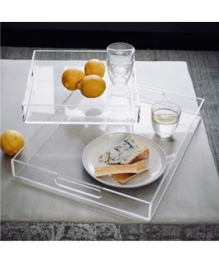 Vassoio cm 60x50h7 in plexiglass trasparente con maniglie