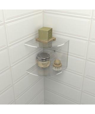 Mensola doccia cm 15x15 in plexiglass modello angolare doppio ripiano