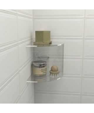 Acrylic corner shelf cm 25x25 double shelf model for shower