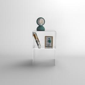 Piccolo comodino 30x20h45 con ripiano in plexiglass trasparente