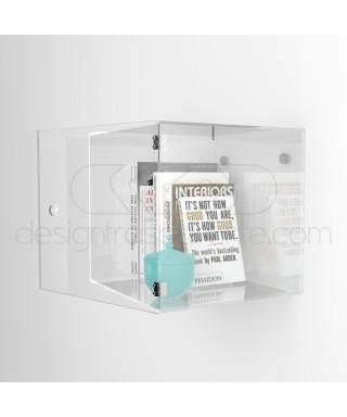 Cubo vetrina L35 P25 H35 con sportello in plexiglass trasparente