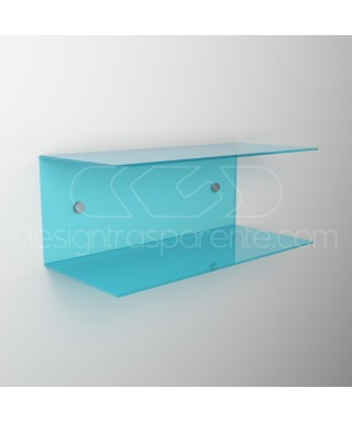 Mesilla flotante 30x20 estante doble balda en metacrilato