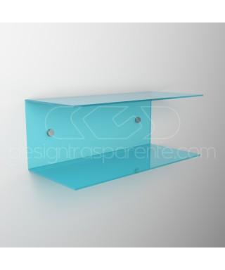 Comodino sospeso cm 50x20 mensola doppia in plexiglass modello a C