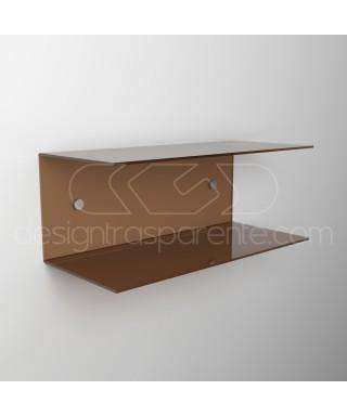 Mensola a C cm 95x15 in plexiglass, salvaspazio con  doppio ripiano