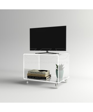 Acrylic clear rolling TV stand 50x30 with wheels, lucite shelves