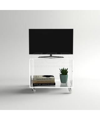 Acrylic clear rolling TV stand 55x40 with wheels, lucite shelves