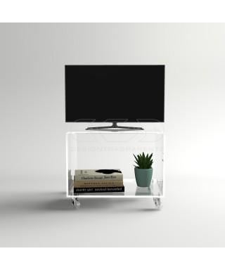 Carrello TV 65X30 mobile per plasma con ruote, ripiani in plexiglass