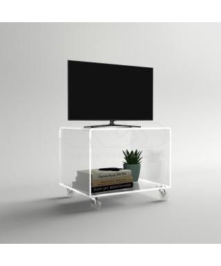 Carrello TV 70x50 mobile per plasma con ruote, ripiani in plexiglass