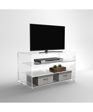 Acrylic clear rolling TV stand 80x50 with wheels, lucite shelves