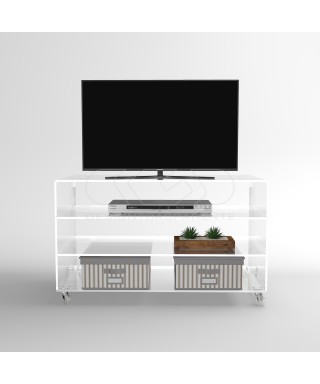 Acrylic clear rolling TV stand 100x30 with wheels, lucite shelves