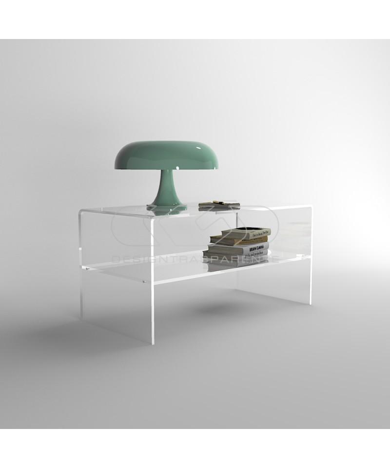 Tavolino da salotto 70x40H30 in plexiglass trasparente con ripiano