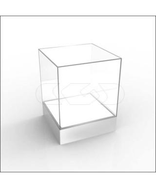 Teca LED 45x30H45 con base bianca illuminata realizzata in plexiglass