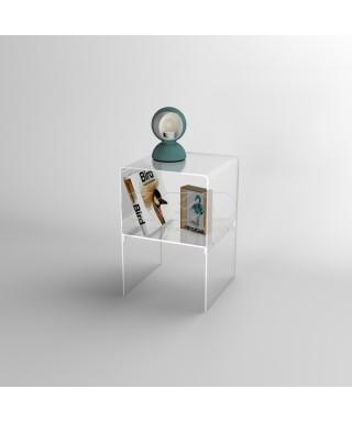 Piccolo comodino 30x30H45 con ripiano in plexiglass trasparente