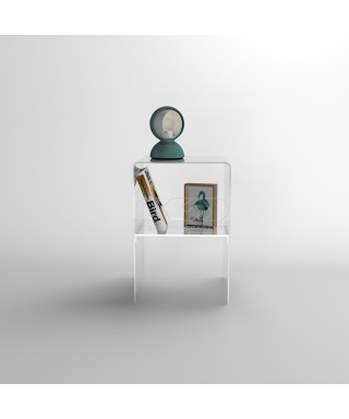 Mesita de noche 20x20H45 con estante de metacrilato transparente