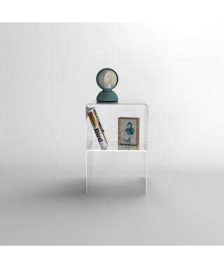 Piccolo comodino 20x20H45 con ripiano in plexiglass trasparente