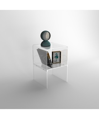 40x20H45 small bedside table with transparent acrylic shelf