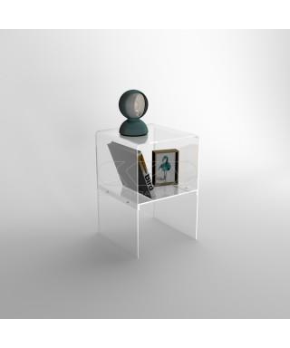 Piccolo comodino 40x20H45 con ripiano in plexiglass trasparente