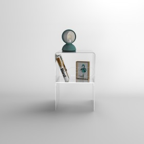 35x20H45 small bedside table with transparent acrylic shelf