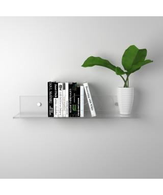 Mensola cm L 80 in plexiglass trasparente alto spessore per libri