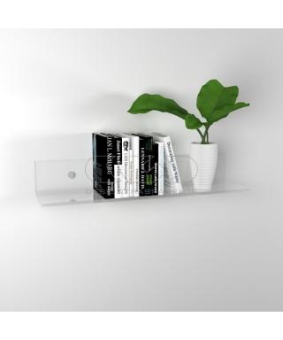 Mensola cm 80x30 in plexiglass trasparente alto spessore per libri