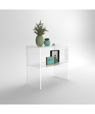 Transparent acrylic console table 50 cm with storage shelf