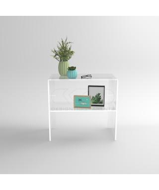 Tavolino Consolle cm 60 in plexiglass trasparente con ripiano